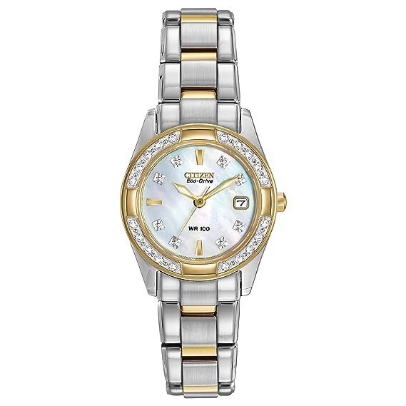 Citizen EW1824-57D - Reloj analógico de cuarzo para mujer, correa de acero inoxidable color plateado: Amazon.es: Relojes