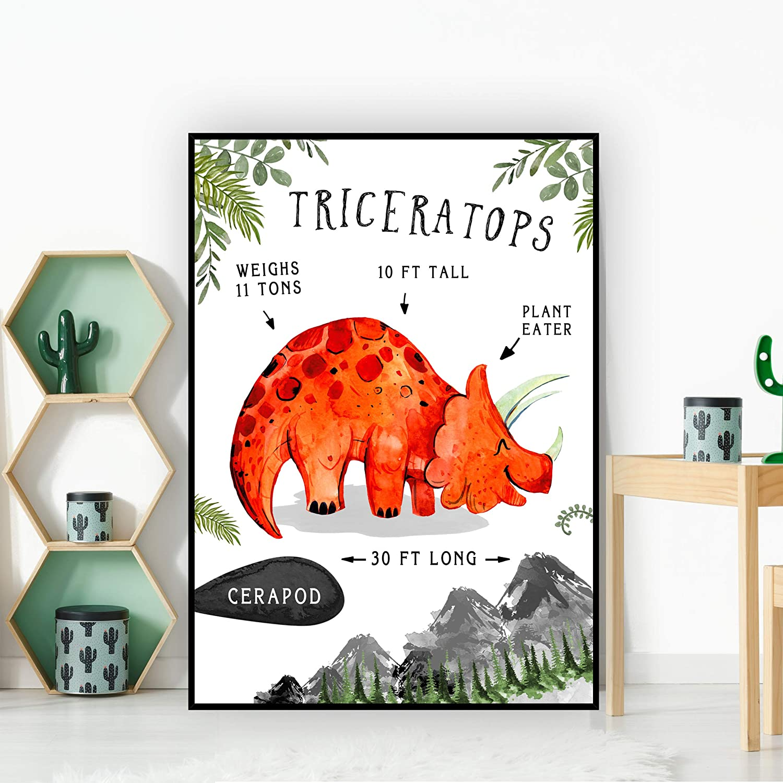 Triceratops Dinosaur Facts Children/'s Nursery Kids Wall Art Print