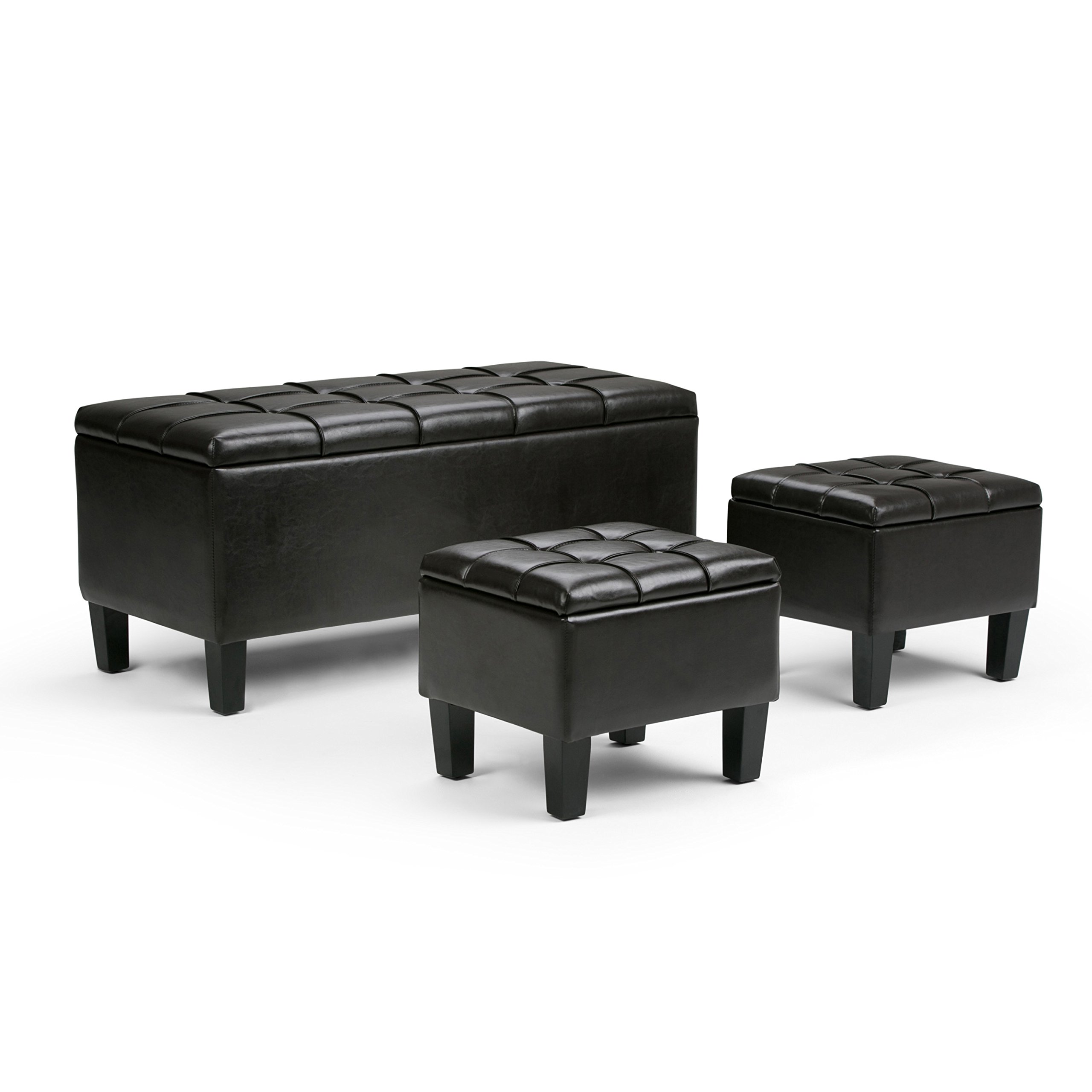 Simpli Home 3AXC-OTT238 Dover 44 inch Wide Contemporary Rectangle 3 Pc Storage Ottoman in Tanners Brown Faux Leather by Simpli Home