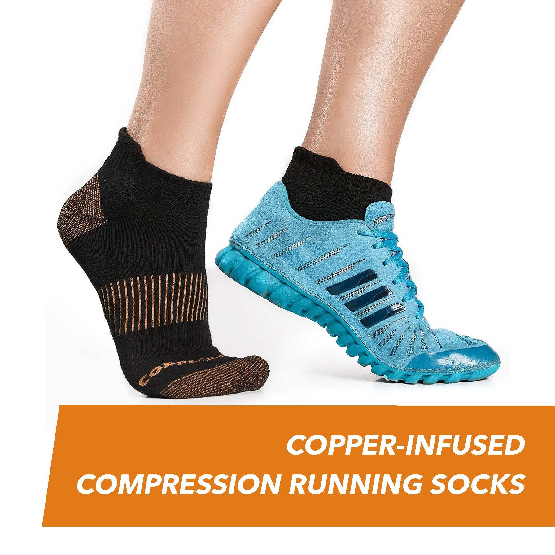 CopperJoint Copper-Infused Short Compression Running Socks, Pair (Small/Medium)