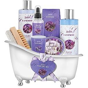 Relaxing Lavender Spa Bath Gift Baskets for Women-Girls, Christmas, Birthday, Bath and Body Set-Kit Includes Candle, Essential Oil, Body Scrub, Bath Salt, Body Lotion, Shower Gel and Body Scrub Brush