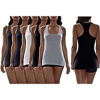 Sexy Basics Women's 5 Pack Flat Knit Jersey Flex Tank Tops/Cotton -Spandex Stretch Color Tank Tops