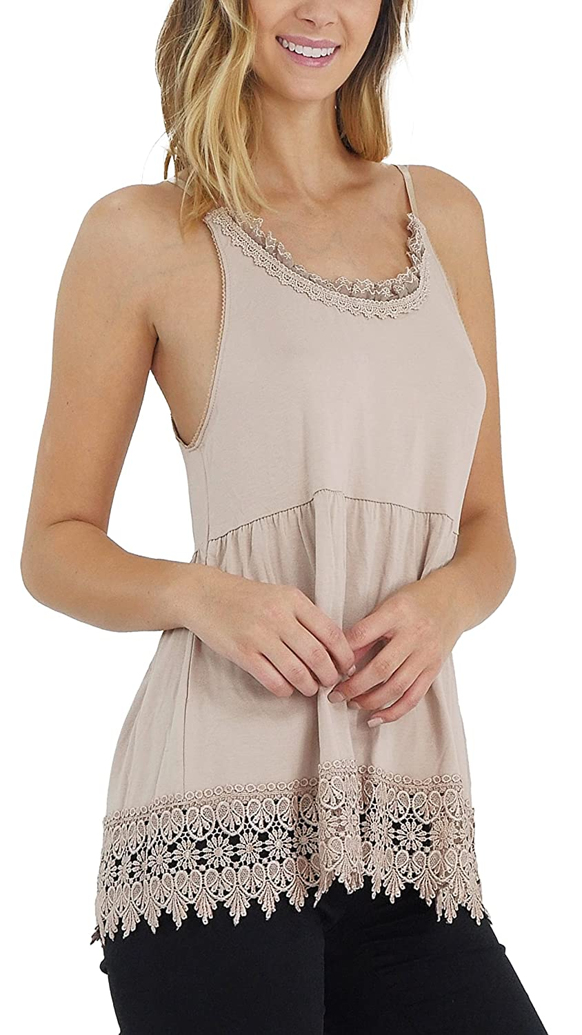 [Shop Lev] O2 Collection Lace Swing Cami with adjustable straps