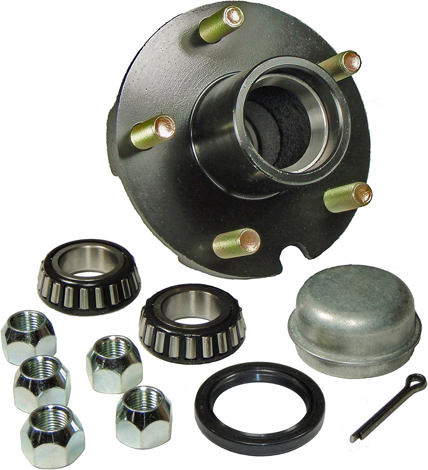 Rigid Hitch Trailer Hub Kit (BT-150-22-A) 5 Bolt on 4-1/2 Inch Circle - 1-1/16 inch I.D. Bearings