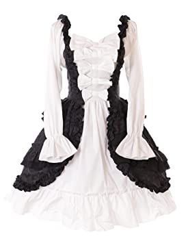 Kawaii-Story JL de 664 Manga Larga Volantes Lazos Vestido gemusterter Ornament Negro Blanco Victorian