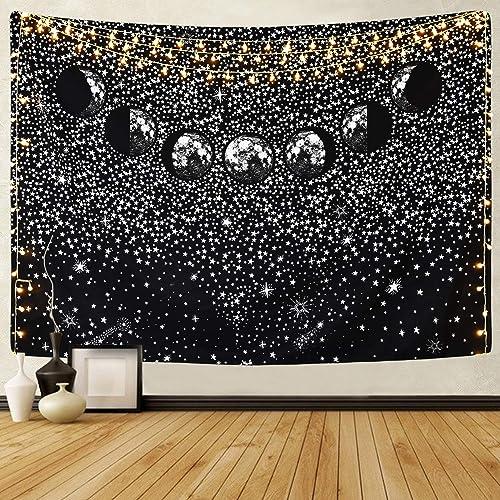 Sevenstars Moon Eclipse Tapestry, Universe Galaxy Tapestry, Starry Night Sky Tapestry Wall Hanging for Living Room Bedroom Dorm