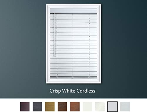 Luxr Blinds Custom-Made 2 Faux Wood Cordless Horizontal Blinds with Easy Inside Mount -72 x 72 Crisp White