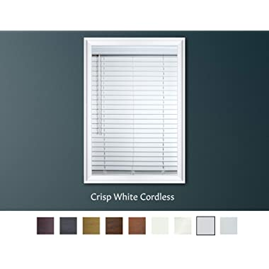 Luxr Blinds Custom-Made 2  Faux Wood Cordless Horizontal Blinds with Easy Inside Mount -30  x 60 Crisp White