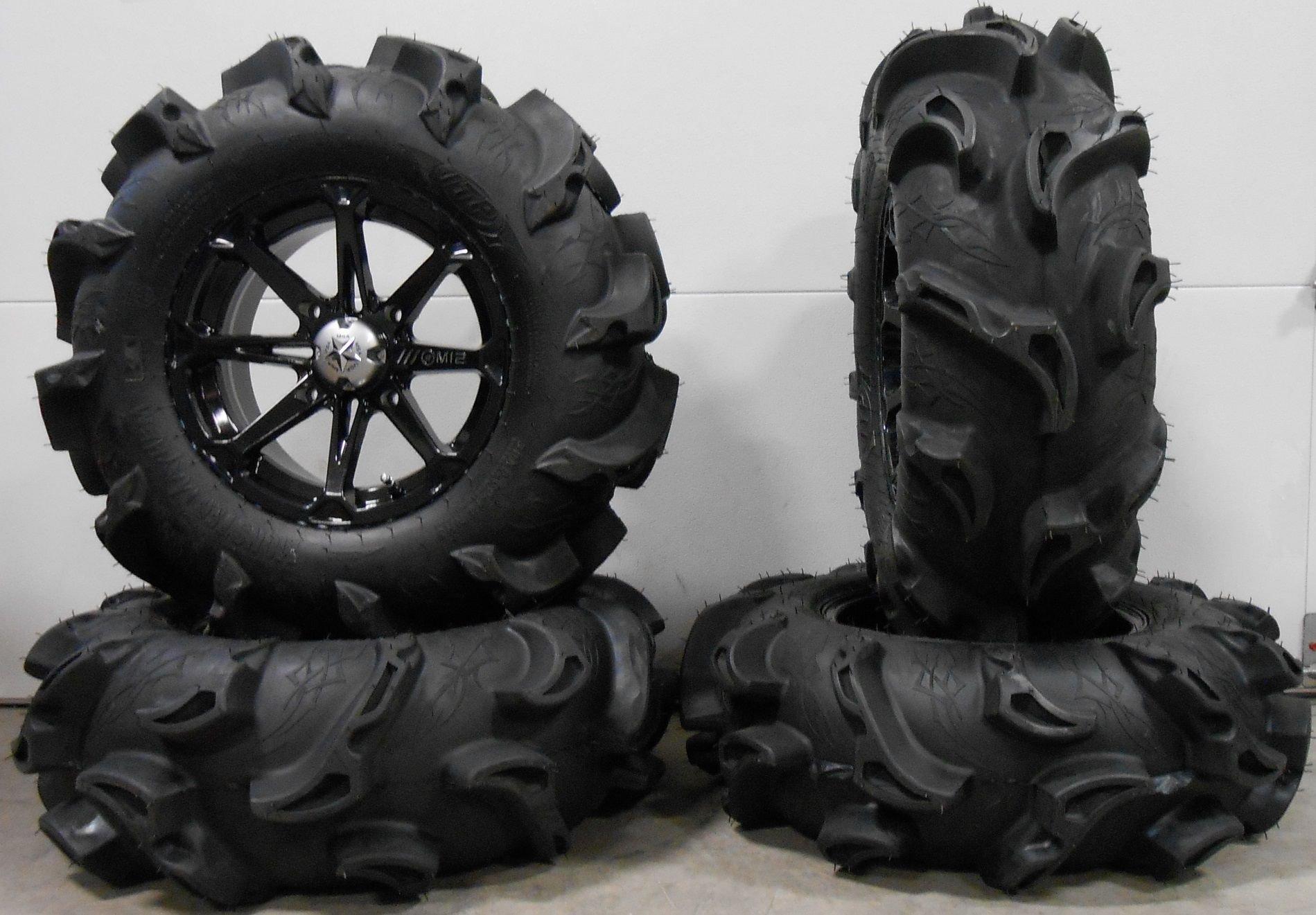 Bundle - 9 Items: MSA Black Diesel 14'' ATV Wheels 30'' Monster Mayhem Tires [4x110 Bolt Pattern 10mmx1.25 Lug Kit]