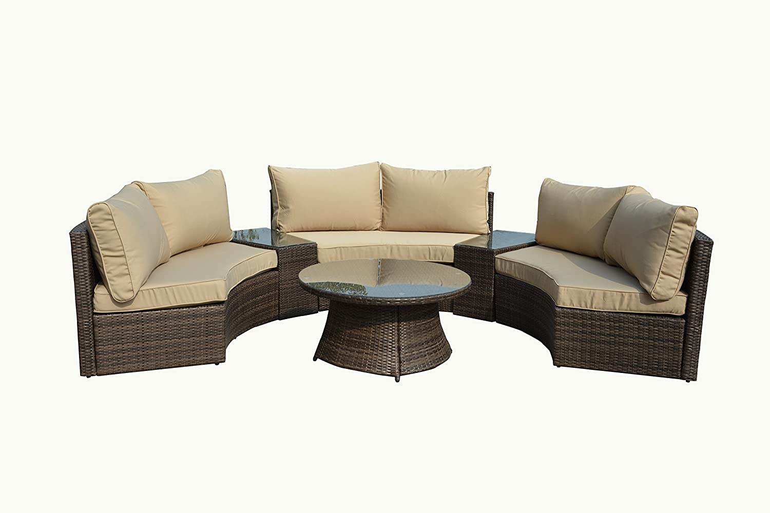 Amazon.com: Manhattan Comfort Pearl Semi  Circle Outdoor Patio Sofa Set:  Kitchen U0026 Dining