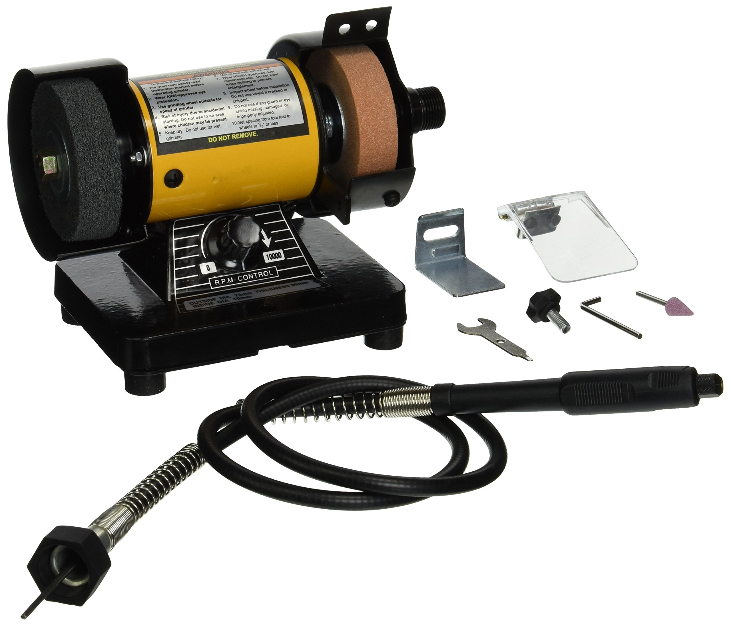 TruePower 199 Mini Multi Purpose Bench Grinder and Polisher with Flexible Shaft, Tool Rest and Safety Guard, 3-Inch