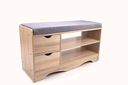 Polar Aurora Storage Bench Storage Hall Wooden Shoe Cabinet With Drawers 2  Level Shoe Storage Rack