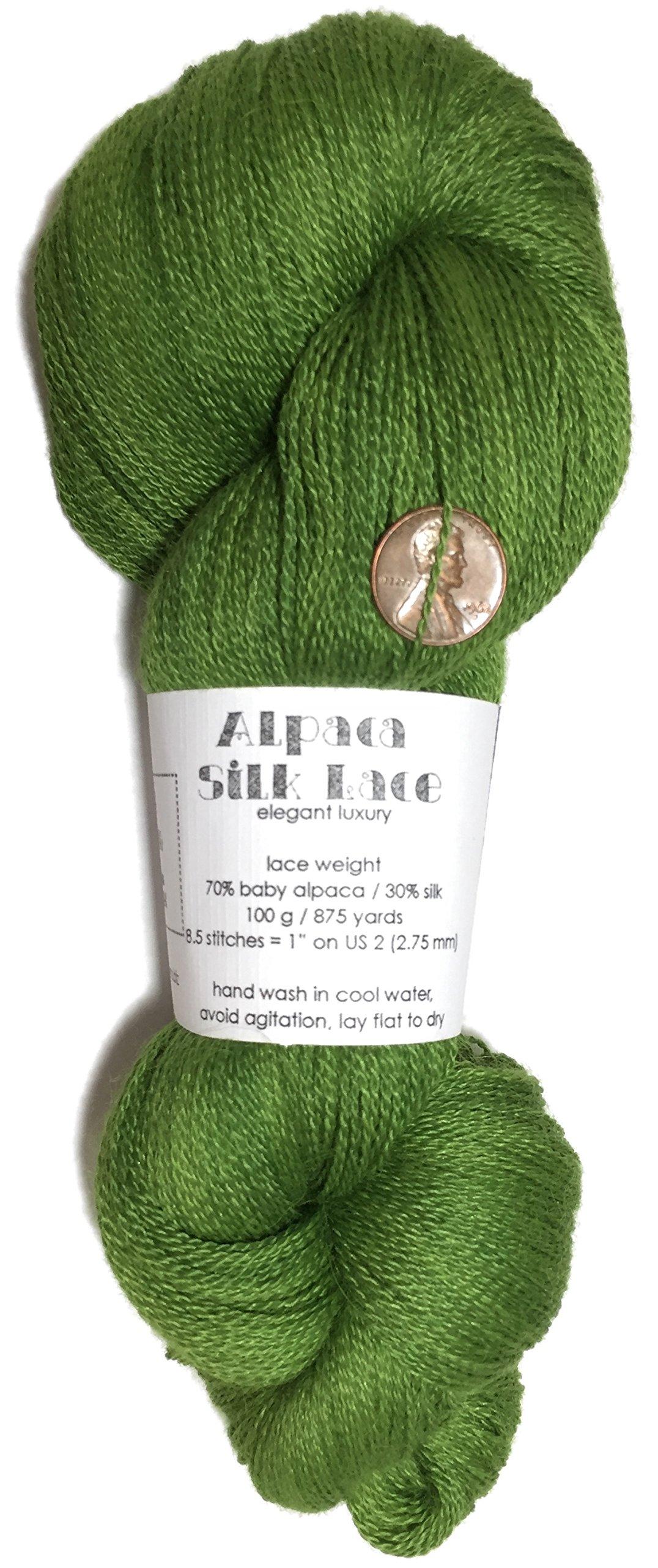 Hand Dyed Alpaca Silk Yarn, Solid Avocado, Lace Weight, 100 Grams, 875 Yards, 70/30 Baby Alpaca/Mulberry Silk