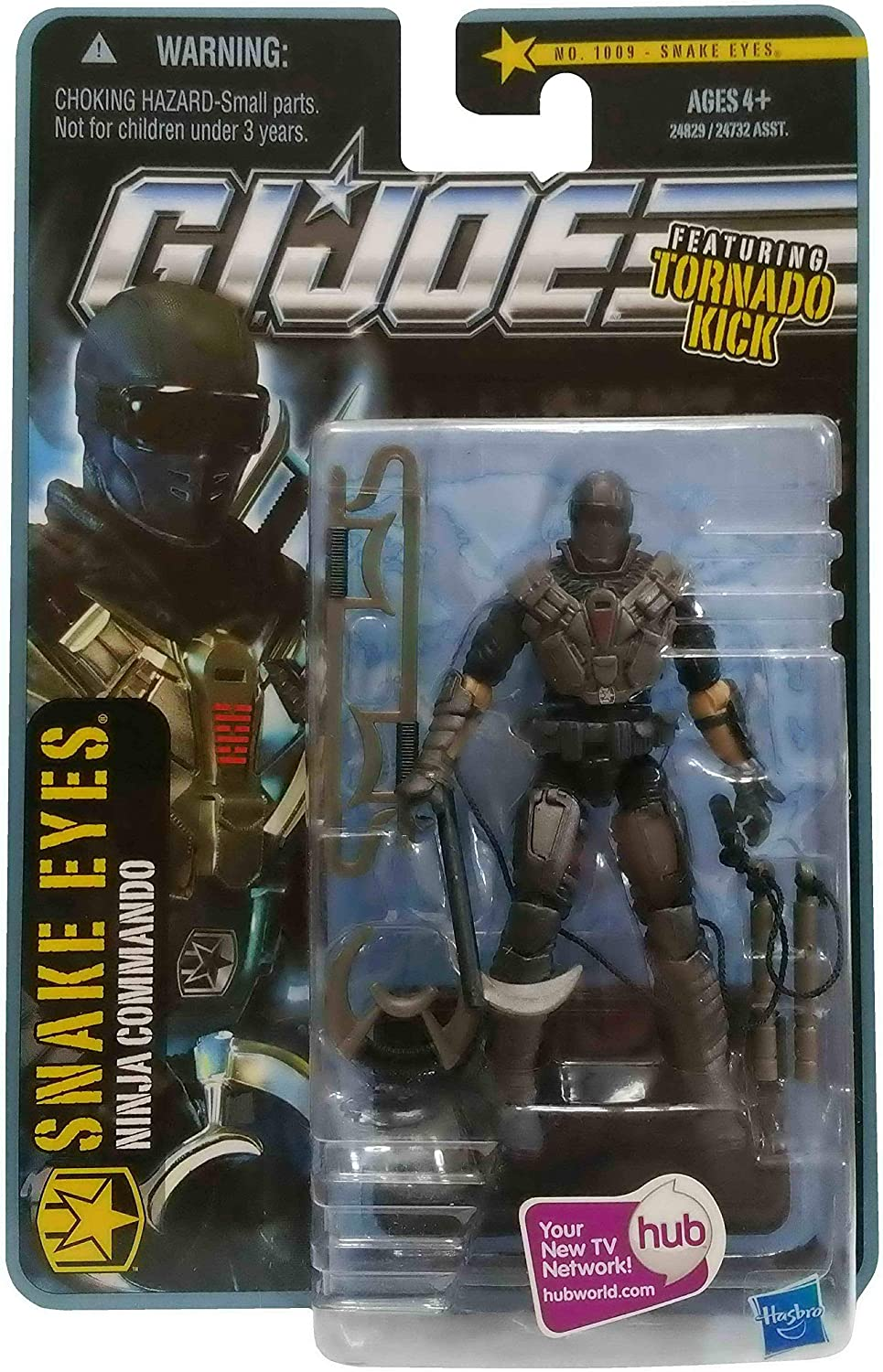 GI Joe Pursuit of Cobra (POC) Snake Eyes (Ninja Commando) with Tornado Kick 3.75 Inch Action Figure