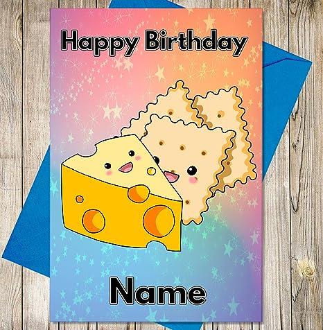 Queso y galletas tarjeta de cumpleaños personalizada ...