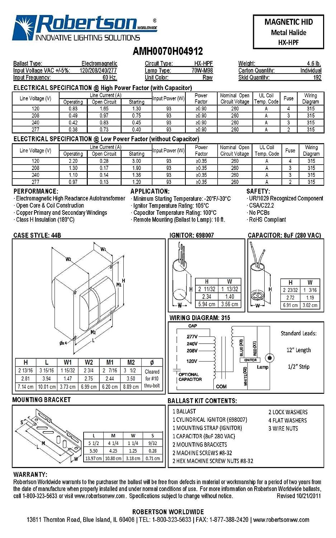 ROBERTSON 3P10102 AMH0070H04912 M HID HX-HPF, mBallast Kit, 70 Watt ...