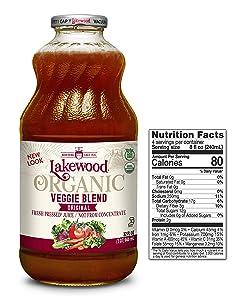 Lakewood Organic Super Veggie Juice, 32-Ounce Bottles (Pack of 6)