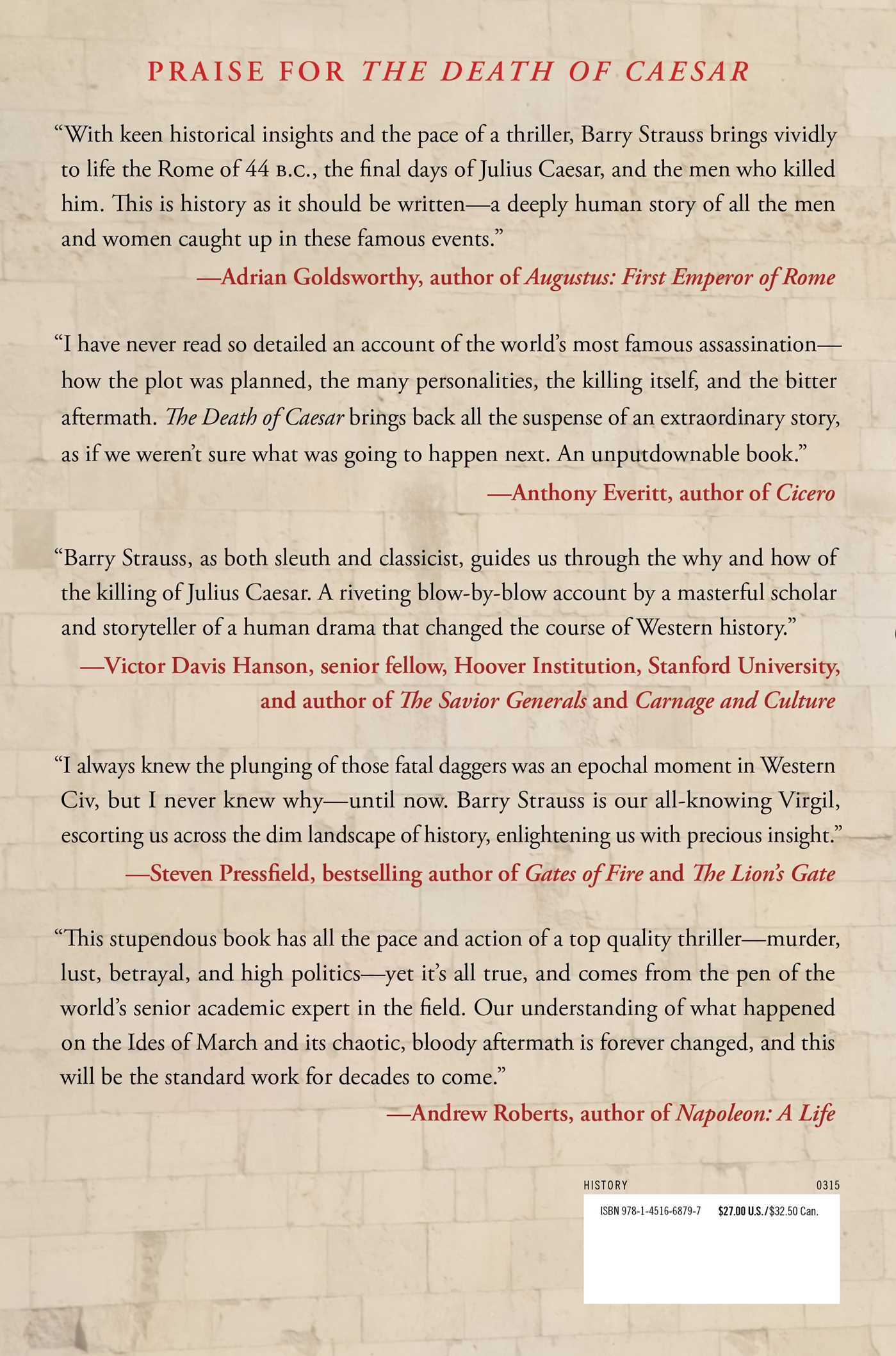 The Death of Caesar: The Story of History's Most Famous Assassination: Barry Strauss: 9781451668797: Books - Amazon.ca