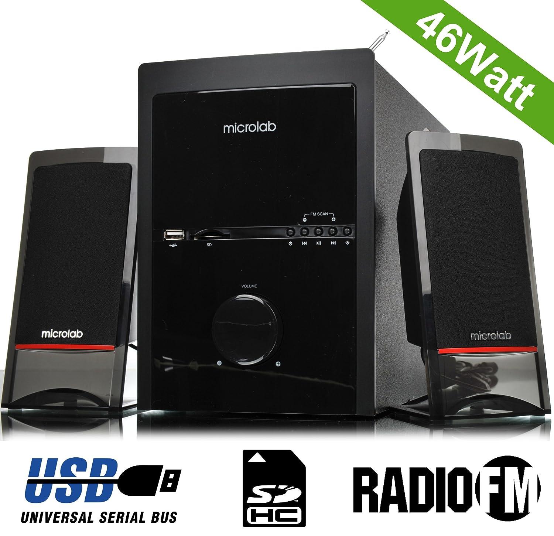 Microlab m700u acústica Subwoofer HIFI altavoz Amplificador de audio de cine en casa Multimedia sistema 2.1 potencia de graves Super 46 W con USB, ...