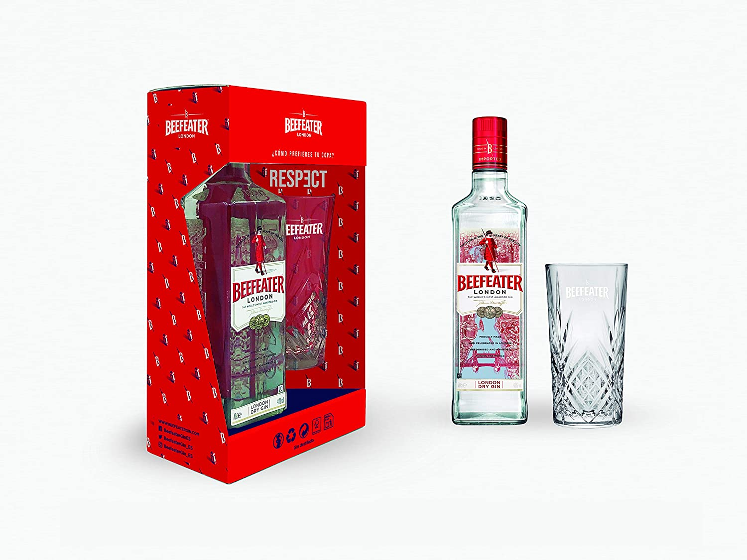 Beefeater London Dry Gin pack regalo con vaso - 700 ml: Amazon.es ...