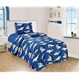 All American Collection New 3pc Children's Comforter Set with Furry Toy Twin Size (Twin Sheet Set, Shark)
