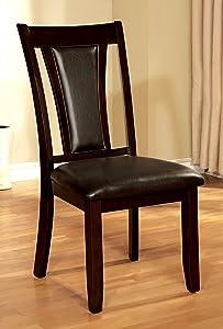 Furniture of America Dalcroze Modern Dining Chair, Espresso Leatherette, Set of 2