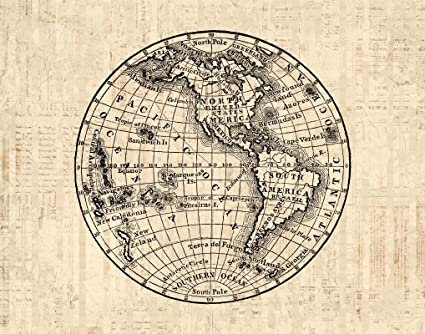 Amazon antique world globe print with america western antique world globe print with america western hemisphere old fashioned map illustration print or poster gumiabroncs Image collections
