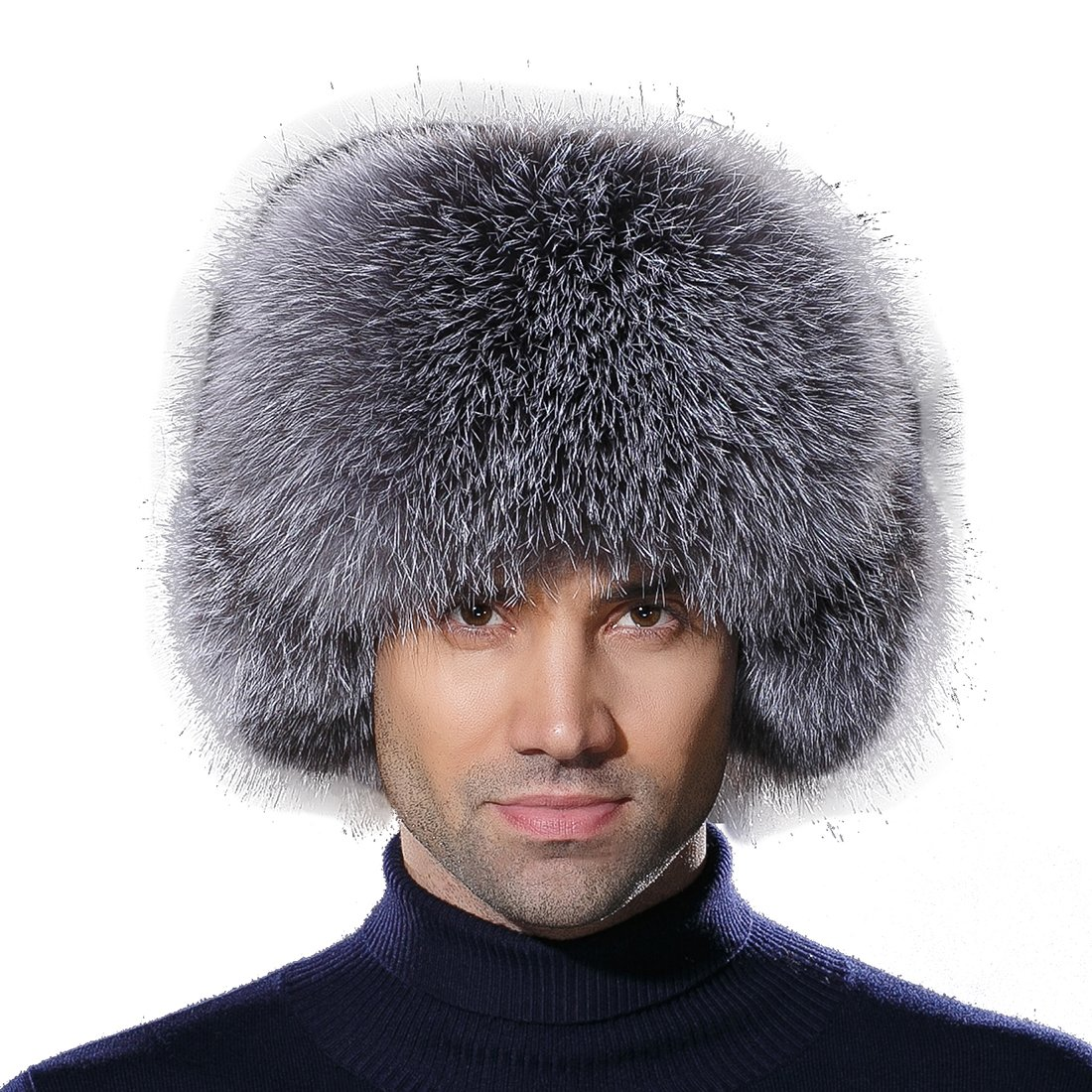 URSFUR Winter Mens Trapper Hat Leather Silver Blue Fox Fur Russian Ushanka Cap