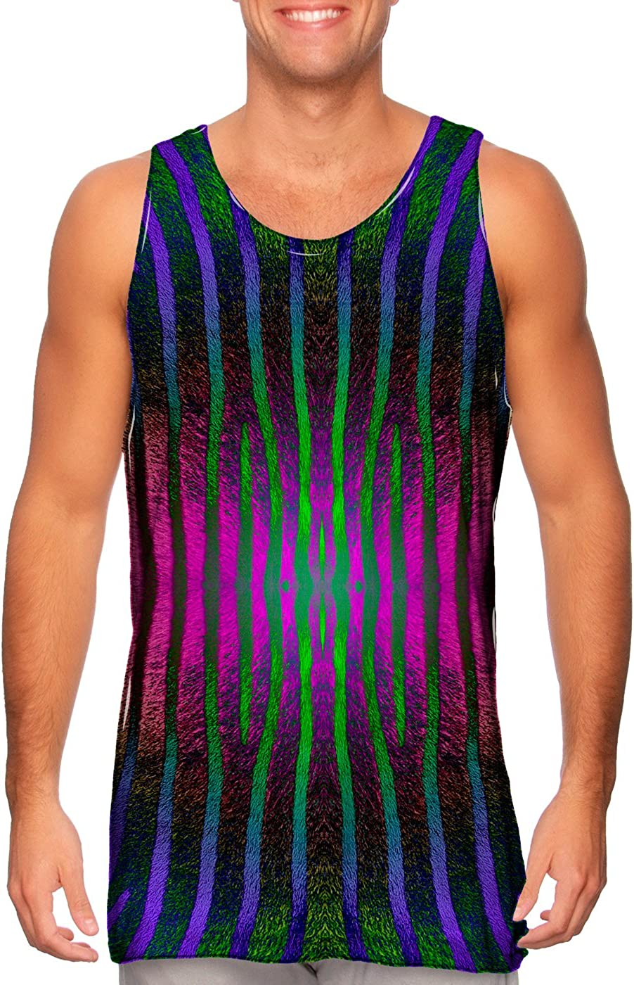Yizzam AnimalShirtsUSA Tshirt Mens Tank Top Pink Purple Green Zebra Stripes