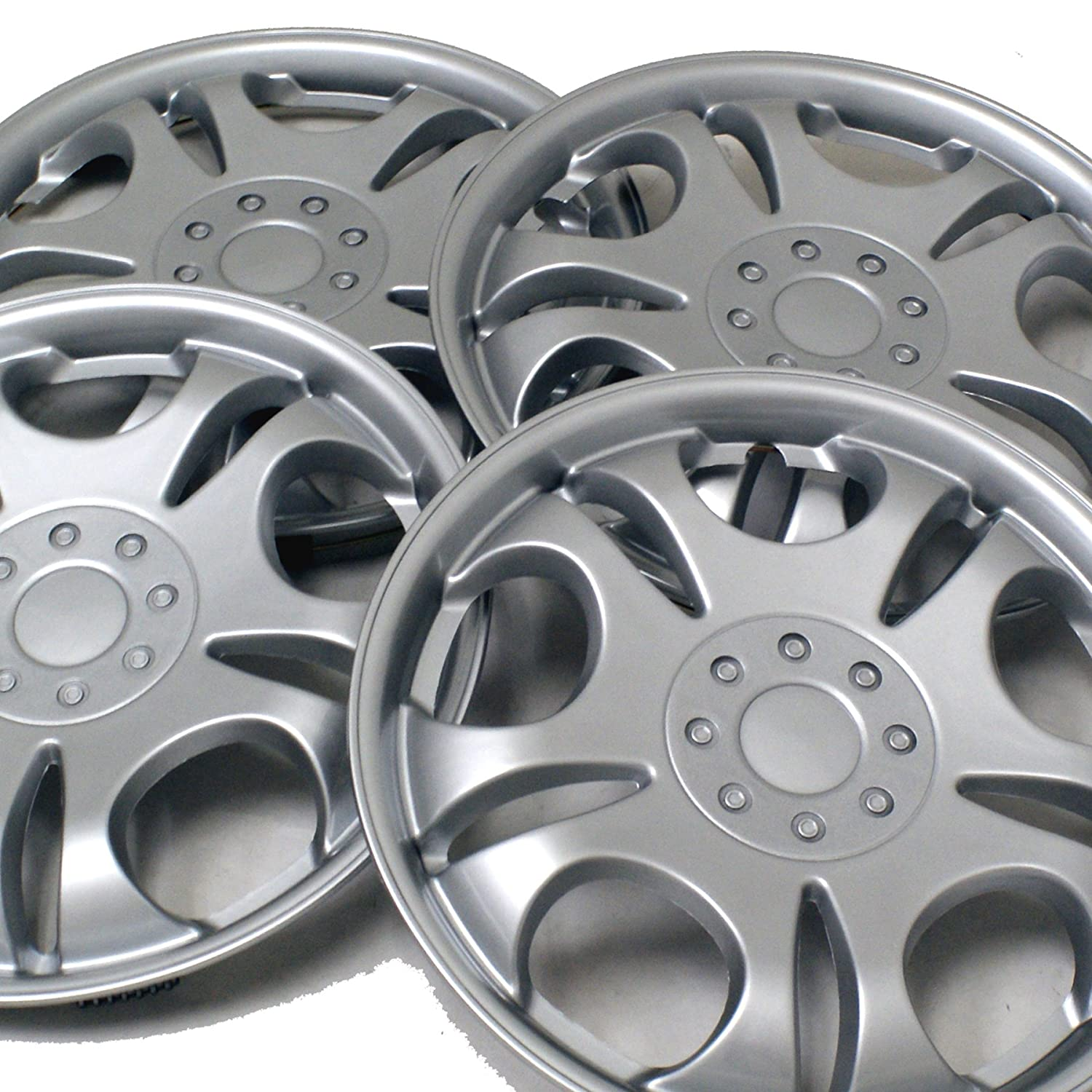 Pop-On 15-Inches Metallic Silver Hubcaps Wheel Cover TuningPros WSC3-5032S15 4pcs Set Snap-On Type