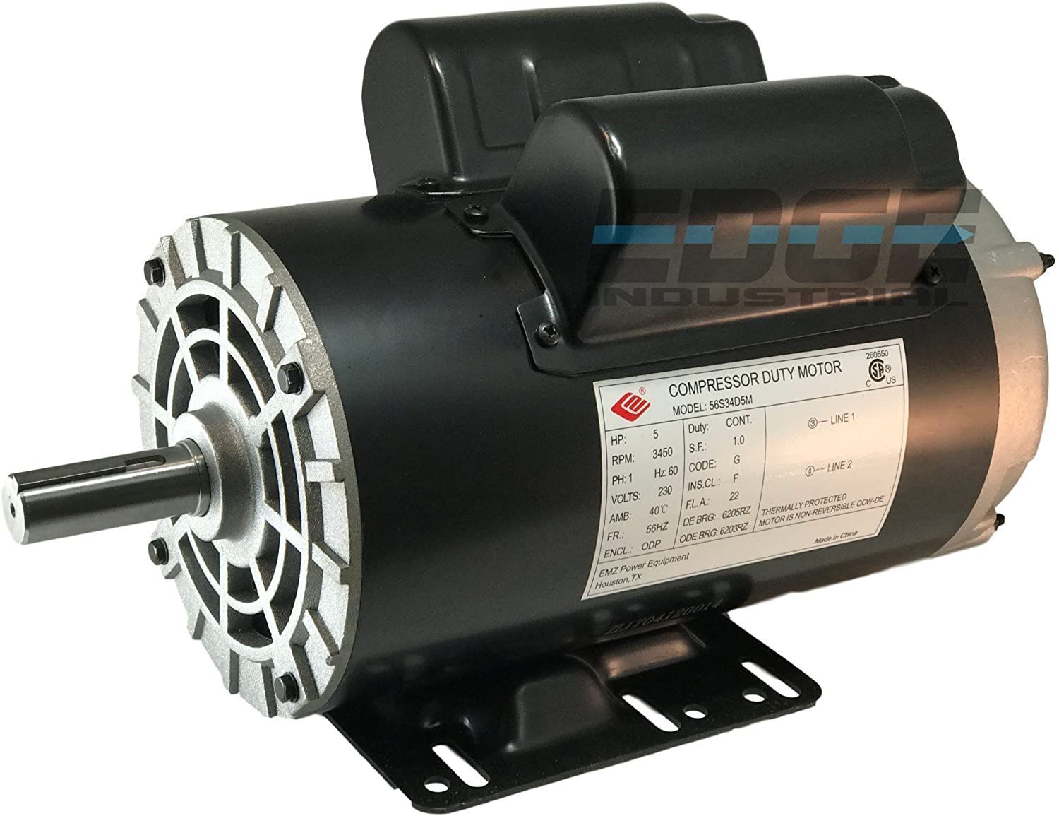"NEW 5HP COMPRESSOR DUTY ELECTRIC MOTOR, 56HZ FRAME, 3450 RPM, 7/8"" SHAFT DIAMETER, NEMA RATED MOTOR"