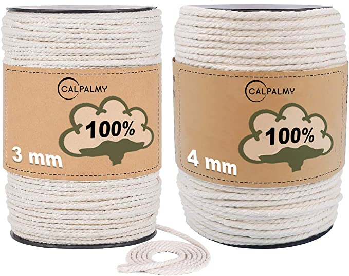 kuou 3mm x 200m Macrame Cord Unbleached Cotton Macrame Rope for Wall Hangings Gift Wrapping and Wedding Decorations Plant Hangers