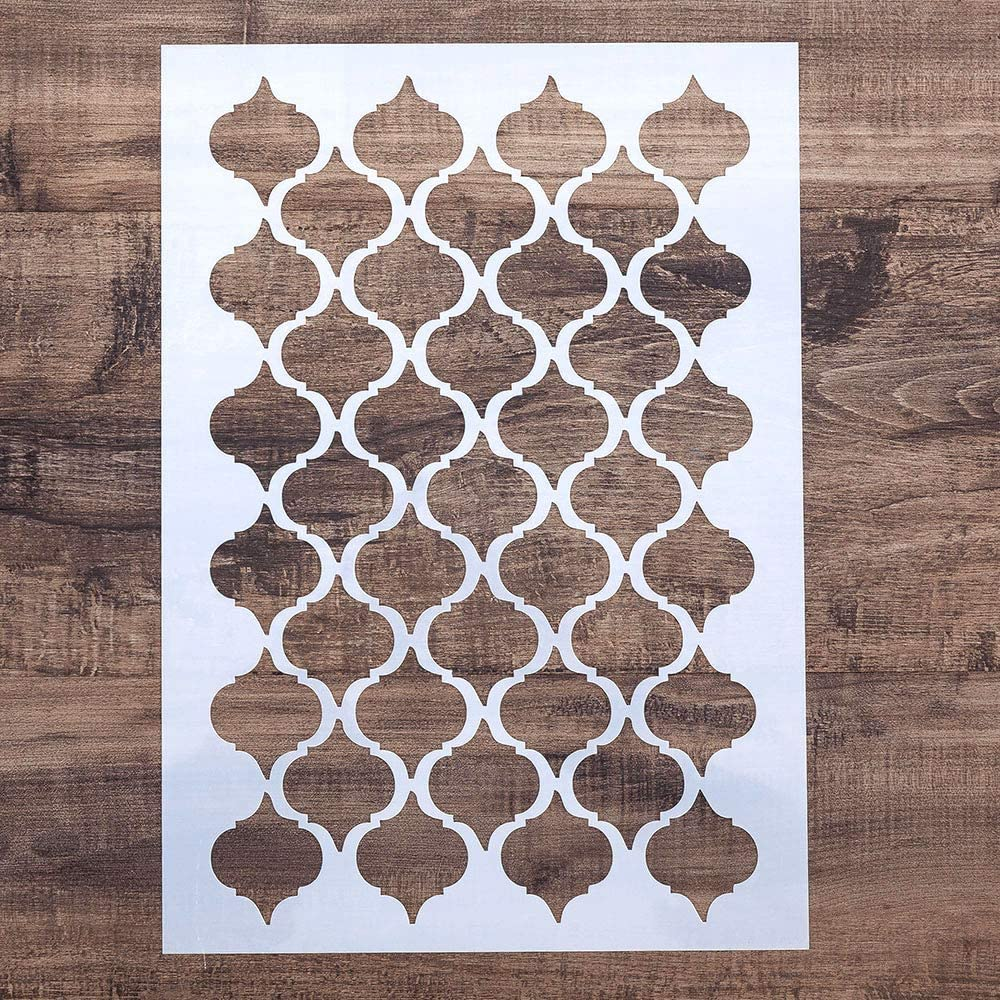 A2 Size DIY Decorative Damask Stencil Template for Painting on Walls Furniture Crafts
