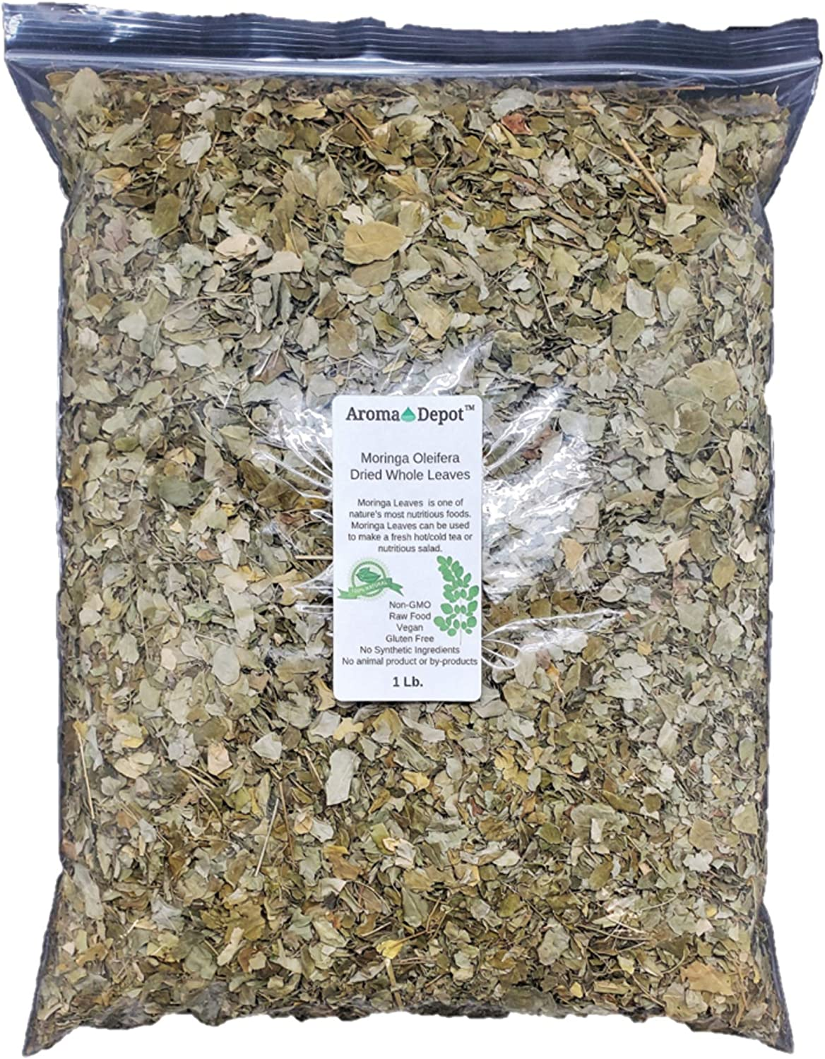 1 lb / 16 oz Dried Moringa Oleifera Whole Leaves 100% Natural Raw from India Organic Non-GMO and Gluten Free Great for Smoothies, Tea, Drinks & Recipes The Miracle Tree