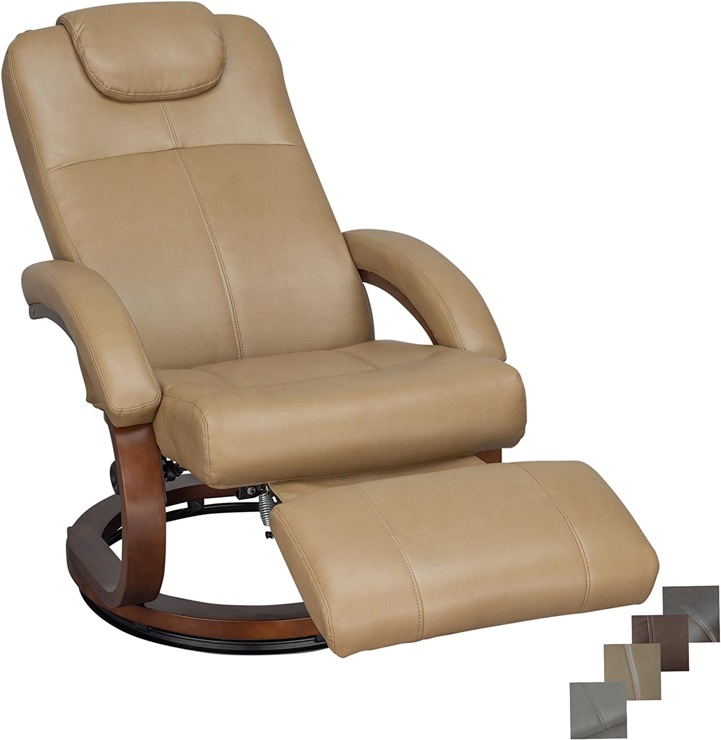 "RecPro Charles 28"" RV Euro Chair Recliner Modern Design RV Furniture (1, Toffee)"