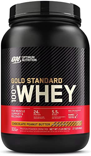 Optimum Nutrition Gold Standard 100 Whey Protein Powder, Chocolate Peanut Butter, 2 Pound Packaging May Vary