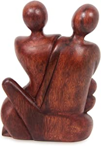 NOVICA Hand-Carved Dark Brown Suar Wood Human Figure Family Sculpture, 7.75