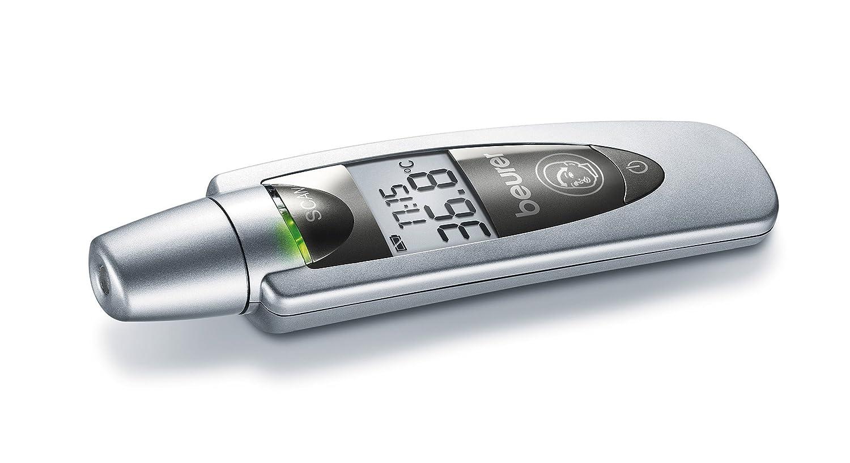 Beurer FT-60 - Termómetro digital frontal, 3 mediciones en 1 (corporal, ambiente, superficie), pantala LED, pantalla extra grande, color plateado: ...