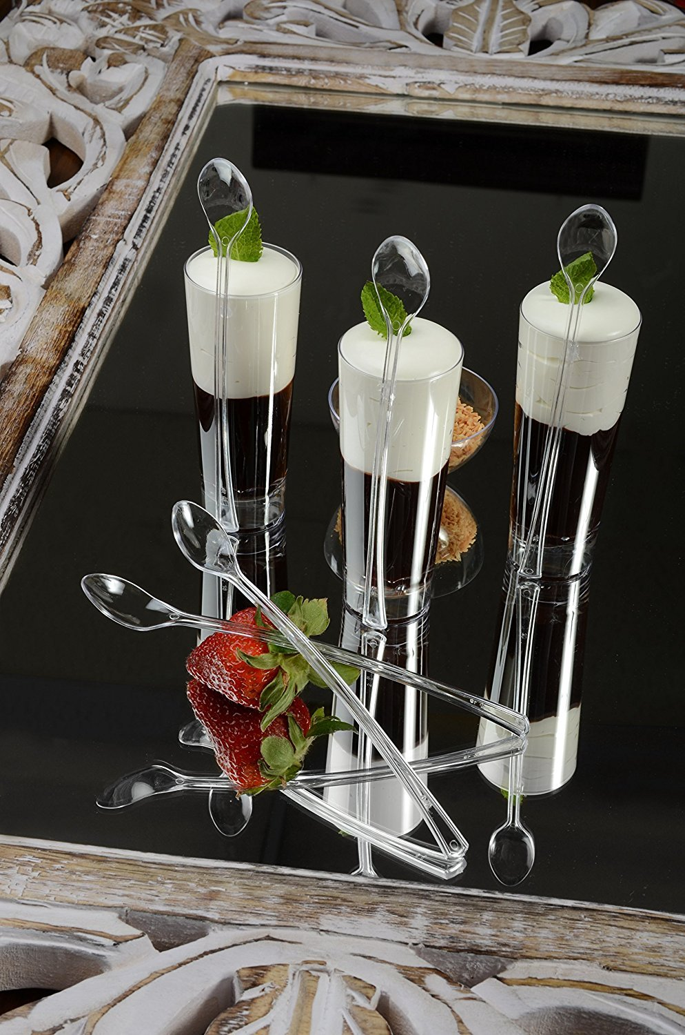 - Pack of 20 6 Plastic Appetizer Cocktail Spoons 15cm Clear