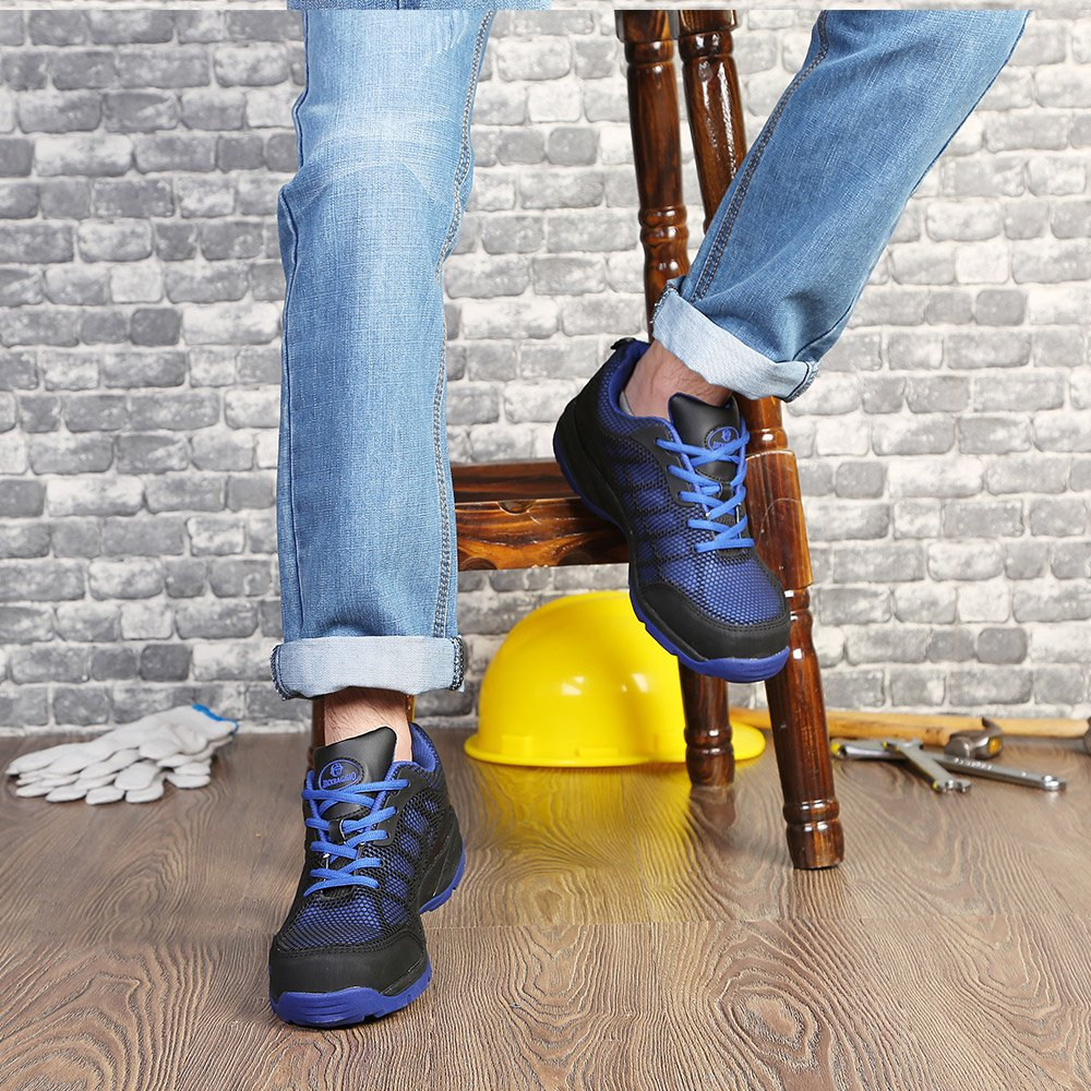 JACKBAGGIO Men's Athletic Steel Toe Breathable Mesh Lightweight Work Shoes (10.5, Blue) by JACKBAGGIO (Image #7)