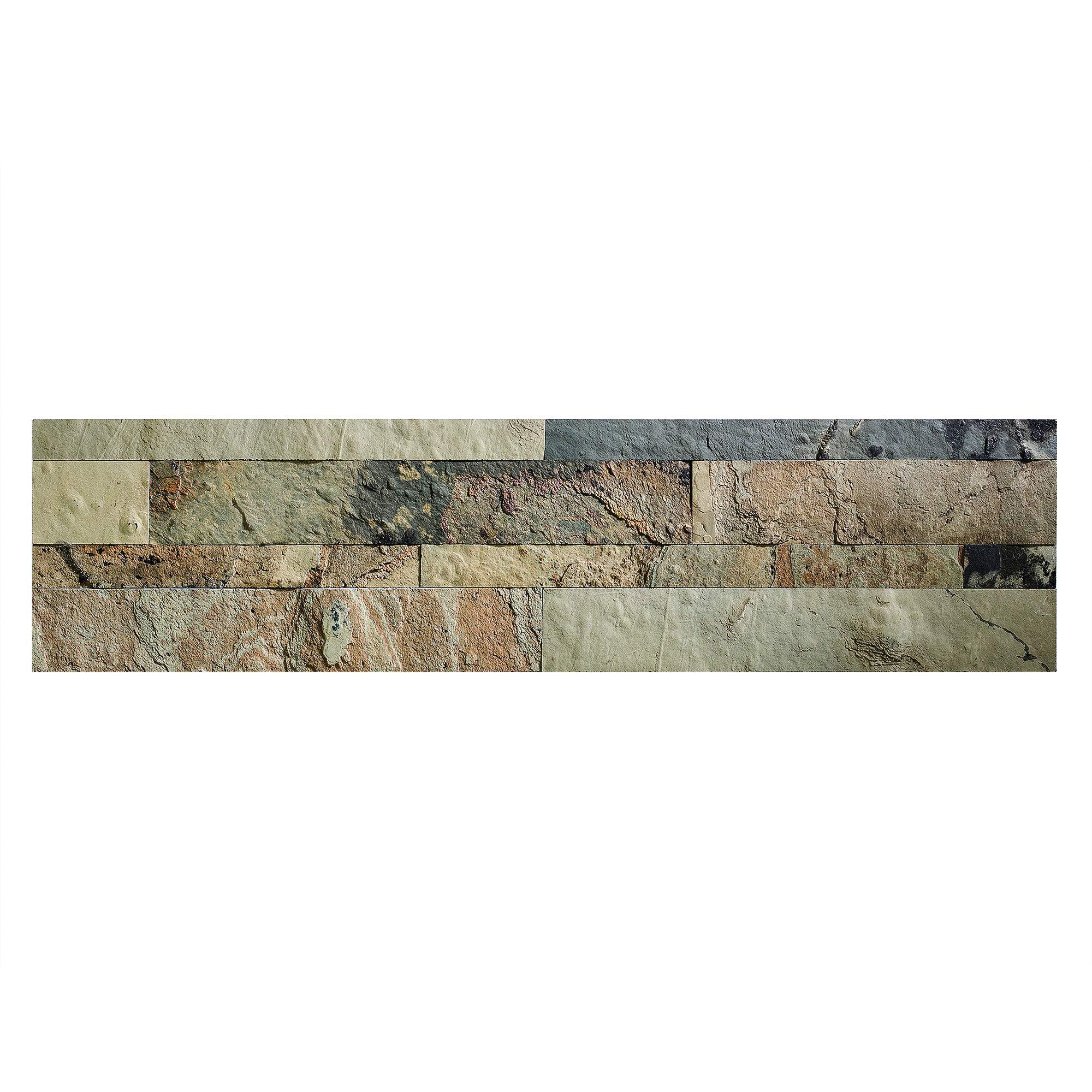 Aspect Peel and Stick Stone Overlay Kitchen Backsplash - Medley Slate (5.9'' x 23.6'' x 1/8'' Panel - Approx. 1 sq ft) - Easy DIY Tile Backsplash by Aspect