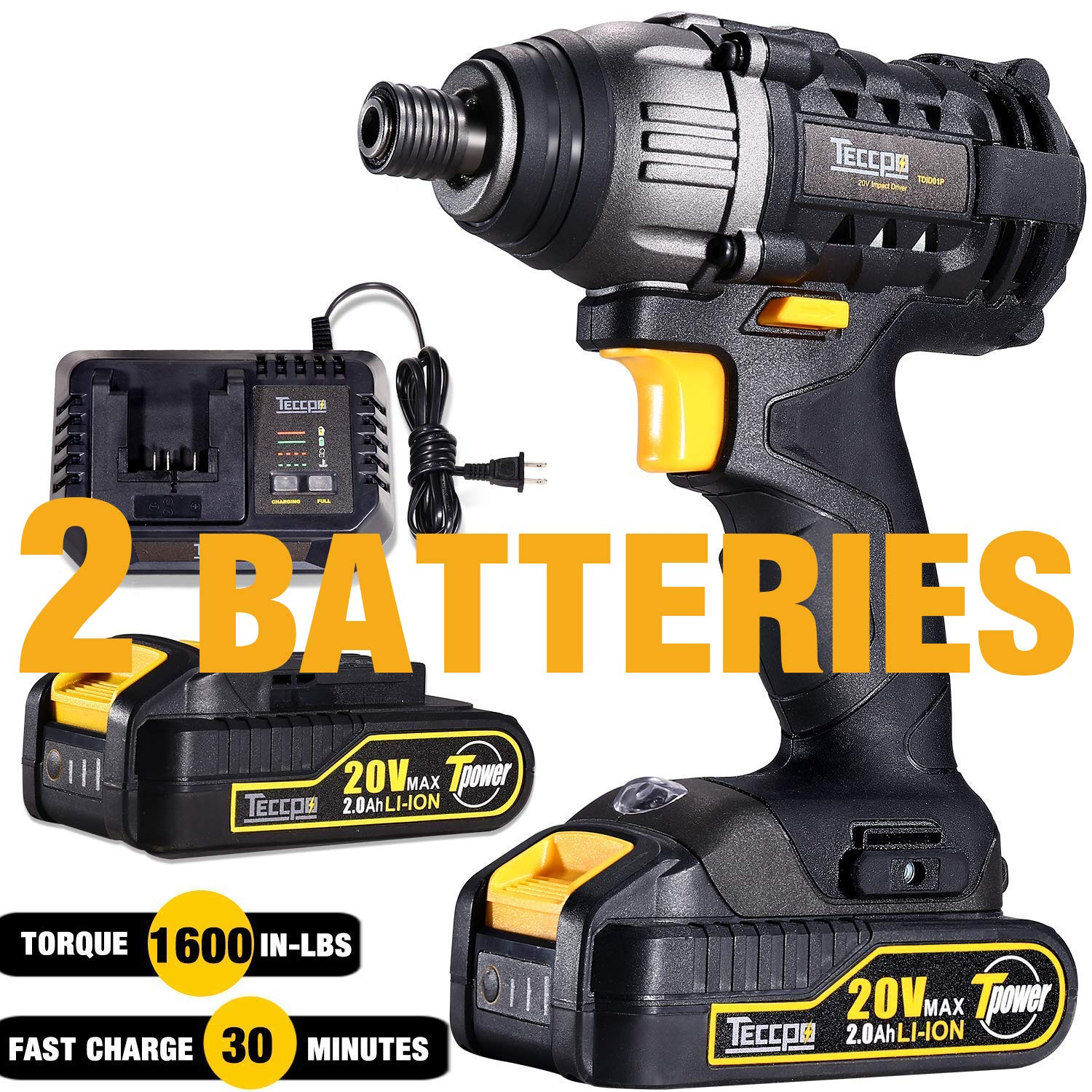 Impact Driver 20V, TECCPO 180Nm Professional Cordless Impact Driver Kit with 2pcs 2.0Ah Batteries, 30 Minutes Fast Charger, 0-2900RPM Variable Speed, 1/4'' All-metal Hex Chuck - TDID01P