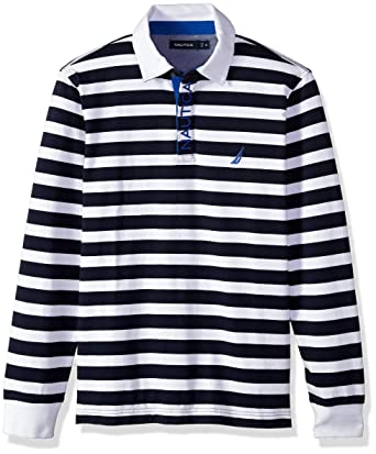 1059aa43 Nautica Men's Striped Heavy Weight Jersey Long Sleeve Polo Shirt, Bright  White, Large