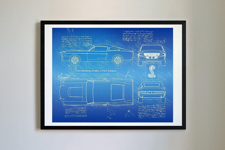 Amazon com dolanpaperco 268 ford mustang shelby gt500 eleanor 1967 art print da vinci sketch unframed multiple size color options 17x22 blueprint