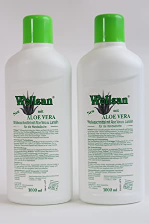 Wollsan Detergente con Aloe Vera para Lana y Fino, Limpieza de colchones, 2 Botellas