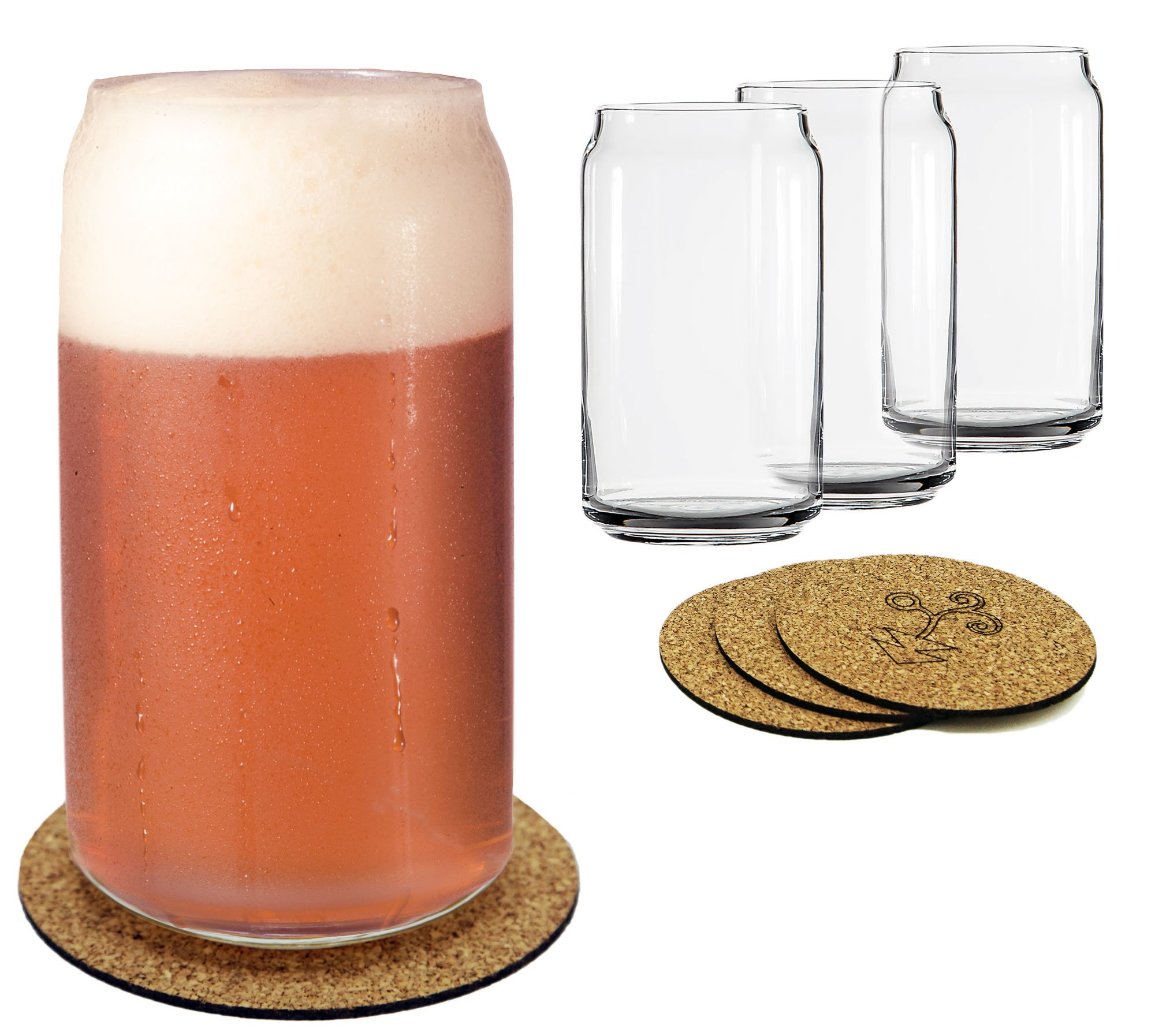 Ecodesign Drinkware Libbey Beer Glass Can Shaped 16 oz - Pint Beer Glasses 4 PACK w/coasters by Ecodesign Drinkware (Image #6)