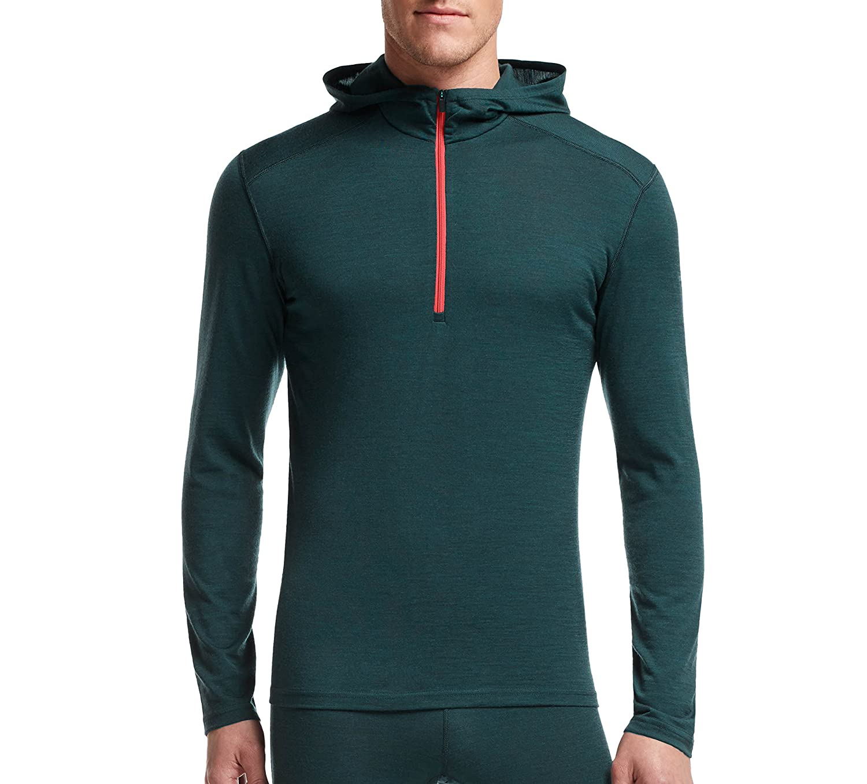 Icebreaker Herren Shirt Unterhemd Langarm Kapuze Oasis Longsleeve Half Zip Hood