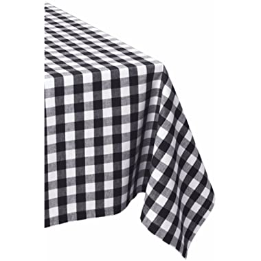 DII 52x52  Square Cotton Tablecloth, Black & White Check - Perfect for Fall, Thanksgiving, Farmhouse Décor, Dinner Parties, Christmas, Picnics & Potlucks or Everyday Use