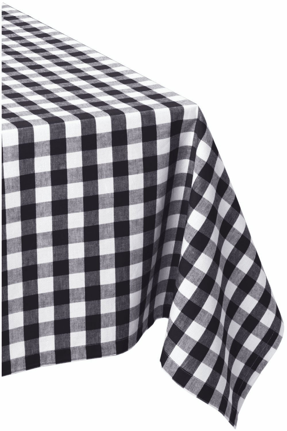 DII 60x84 Rectangular Cotton Tablecloth, Black & White Check - Perfect for Fall, Thanksgiving, Farmhouse DÃcor, Dinner Parties, Christmas, Picnics & Potlucks or Everyday Use