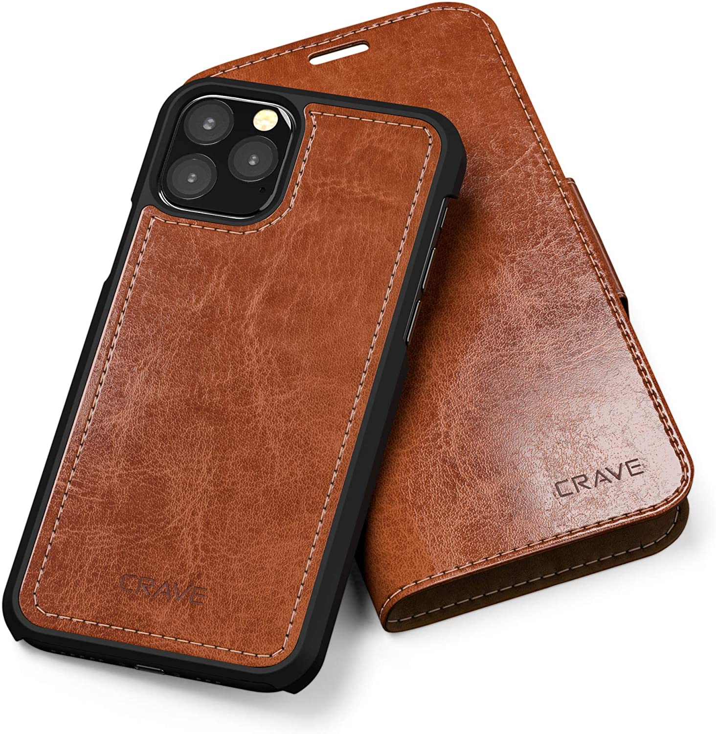 iPhone 11 Pro Leather Wallet Case, Crave Vegan Leather Guard Removable Case for Apple iPhone 11 Pro - Brown